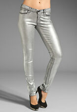 NWT JUICY COUTURE WOMEN Sz27 SILVER FOIL COATED SKINNY-STRETCH DENIM JEANS $198