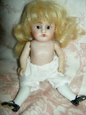 Kestner 160 antique all bisque CLOSED mouth, strung dollhouse doll w/sleep eyes