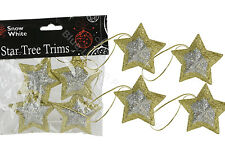 4 x 6cm Gold/Silver Star Shaped Tree Trims Christmas Decorations Festive Xmas