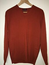 Massimo Dutti Cashmere Silk Men's Sweater Size M Medium 38 Orange Thin Knit