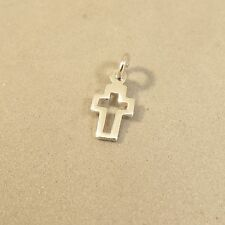 .925 Sterling Silver TINY OPEN CROSS CHARM NEW Pendant Christian Small 925 FA49