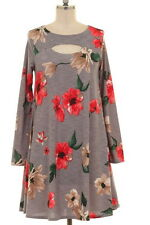 Stellacabella Plus 2XL 16/18 Gray Coral Floral Peephole Chest Pocket Dress Tunic