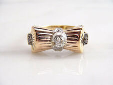 Antique European Cut Diamond Bow Ribbon Ring 14k Yellow Gold Vintage Art Deco