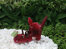 Miniature Dollhouse FAIRY GARDEN ~ Mini RED Dragon Playing w Butterfly Figurine