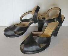 VINTAGE 1940's RISQUE' BLACK SATIN PEEP TOE PLATFORM HIGH HEEL SHOES