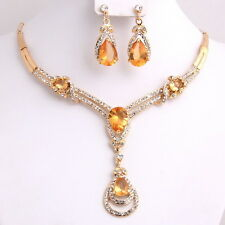 Fashion Zircon Gold Plated Necklace Earrings Set Crystal African Jewelry Sets