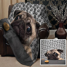 PUG DOG WITH BISCUIT DESIGN SOFT FLEECE BLANKET COVER THROW OVER BLANKET BED