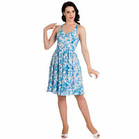 Hell Bunny Esme Blue White Tropical Summer Floral Dress 50s Vintage Tea Dress