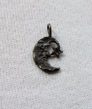 Vtg Vintage Sterling Silver Man in the Moon Crescent Moon & Star Pendant Charm
