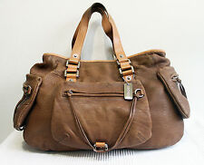 DKNY Soft Leather Tote Bag Shoulder Handbag Brown Large Ladies Designer Purse