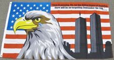 3X5 9-11 MEMORIAL AMERICAN FLAG CRYING EAGLE US USA TWIN TOWERS BUSH QUOTE F661