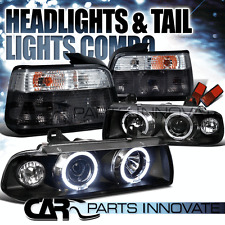 92-98 BMW E36 318i 328i SEDAN HALO PROJECTOR HEADLIGHTS+SMOKE TAIL LAMP