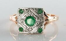 LOVELY 9CT ROSE GOLD EMERALD DIAMOND ART DECO INS RING FREE RESIZE