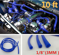 "Blue 1/8"" (3mm) Vacuum Silicone Hose Intercooler Coupler Pipe Tube Turbo-10 feet"