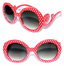 Women's Boho Sunglasses Baroque Red White Polka Dot Round Butterfly Clouds 449