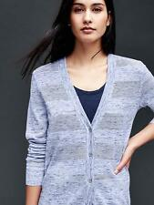 GAP Women's Cotton Textured Stripe V-neck Light Cardigan Sweater Small S NWT $50