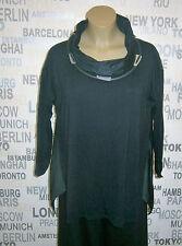 LUUKAA: EDEL Jersey Tunika Shirt schwarz mit Taft-Einsätzen A-Linie 48 - 50
