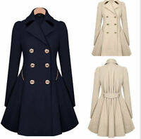 WOMENS Ladies Lapel Winter Warm Long Parka Coat Trench Outwear Jacket Size S-XXL