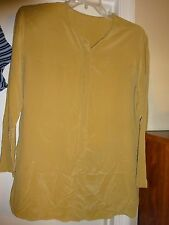 Ladies Size 3X?  Gold Hidden Button Front Blouse Long Sleeve See Measurements