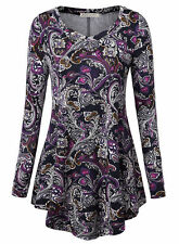Women's Tops Tunic Floral Printed Casual Flared Loose Fit Long Sleeve Blouses XL