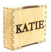 Personalised teak finish wooden box for jewellery and gifts