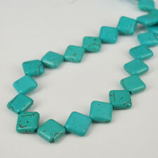 """12mm Turquoise Square Flat Loose Gemstone Beads Jewelry Making 16"""" Free Shipping"""