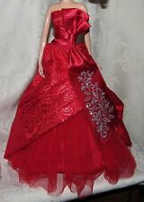 BARBIE MODEL MUSE RED SILVER DETAIL HOLIDAY GOWN DRESS FASHION CLOTHING 4 DOLL