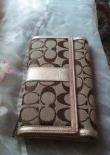 Coach Trifold Silver Patent Leather Mocha Signature Jacquard Checkbook Wallet