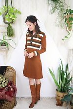 Mod vintage Sweater Dress, 60s 70s Mocha striped Knit dress, 3834