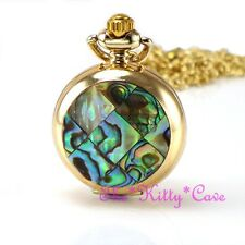 Miniature Or Pl Abalone Mosaïque Poche Demi Chasseur Collier Steampunk Fob Watch