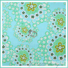 BonEful Fabric FQ Cotton Amy Butler Rowan Daisy Chain Flower Aqua Blue Green OOP