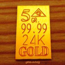 GOLDBARREN 5 GR. = 0,324 Gramm (999,9 Gold, Münze, Barren, Münzen, Geschenk) NEU