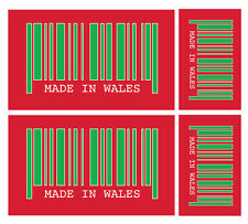 4 X MADE IN WALES BARCODE VINYL CAR VAN IPAD LAPTOP STICKER
