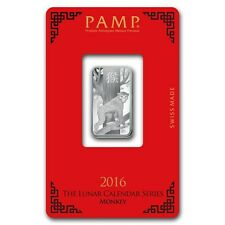 10~GRAM ~PURE .999 SILVER~ YEAR of the MONKEY ~ PAMP SUISSE ~ SEALED BAR ~$22.88