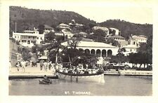 St Thomas Harbor Boat View Cruise Ship Issue Real Photo Postcard