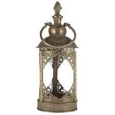 """15"""" Decorative  Round Antique Gold Metal & Glass Lantern With Handle."""