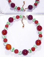 Crown Trifari Necklace Carved Carnelian Shou Bead - Cut Glass - Amber Bakelite