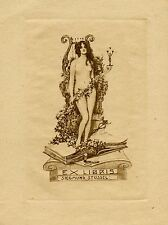 Nude with Statuette of Man, Book, Ex libris Etching by Emil Ranzenhofer, Austria