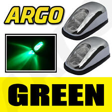 CHROME GREEN LED NEON LIGHT FRONT WINDSCREEN WASHER JETS NOZZLE SPRAY WATER PAIR