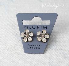 PILGRIM Earrings BOUQUET Flower Gold/Nude Pink & Beige Swarovski & Enamel BNWT