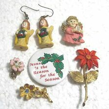LOT 6 pieces vintage jewelry Christian/holy Christmas Jesus Mary medal B39