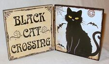 NEW~Halloween Decor Sign BLACK CAT CROSSING Cute Hinged Placard