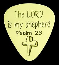 The LORD is my shepherd Psalm 23 - Solid Brass Guitar Pick, Acoustic, Electric
