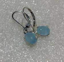 Sterling Silver Oval Cab Natural Aquamarine Dangle Leverback Earrings 2.80CTW
