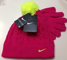 Nike girls beanie hat and gloves set, Cable-Knit youth 7-16 Pink /yellow