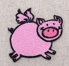 Iron On Embroidered Applique Patch Flying Pink Pig Piglet Farm Animal Smiling