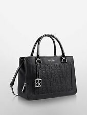 Calvin Klein Sadie Studio Small Satchel Carryall Center Zip Black with patent