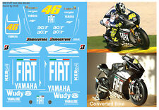 ROSSI - YAMAHA M1 - 2008 VALENCIA TEST BIKE DECALS -  SCALE 1:12