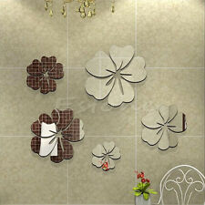 Creative 3D Mirror Effect Removable Flowers Decal Wall Sticker Home Decoration
