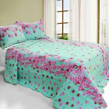 3 PC Flora River flowers blue pink red 100% Cotton Queen Quilt Shams